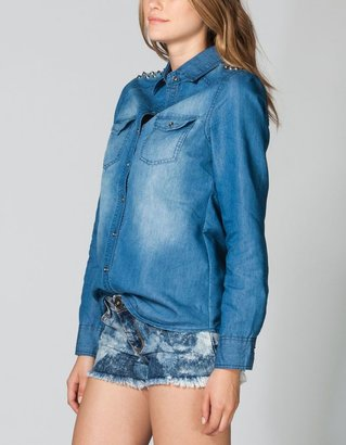 ALI & KRIS Pointy Stud Womens Denim Shirt