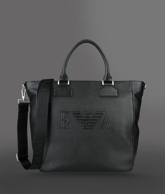 Emporio Armani Handbag In Hammered Leather With Logo
