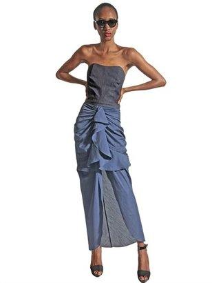 Denim And Poplin Ruffled Long Dress