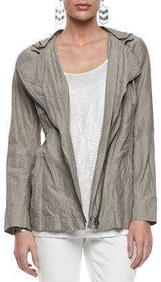Eileen Fisher Rumpled Hooded Zip-Front Jacket