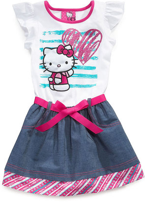 Hello Kitty Girls Dress, Little Girls Printed Chambray Dress