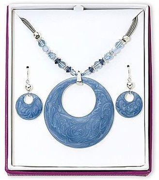 JCPenney Silver-Tone Blue Enamel Necklace & Earrings Set