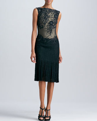 Tadashi Shoji Lace Applique Cocktail Dress with Pleated Skirt