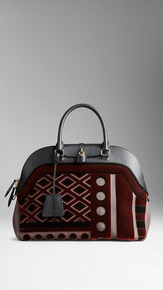 Burberry Large Velvet and Leather Bowling Bag