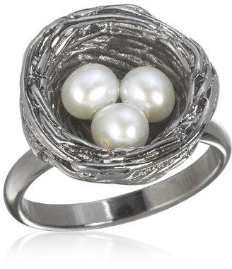 Pade Vavra Pearl Bird Nest Ring, Silver