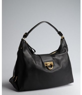 Salvatore Ferragamo black leather gancio buckled shoulder bag