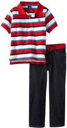U.S. Polo Assn. Boys 2-7 Striped Polo With Belted Jean Set