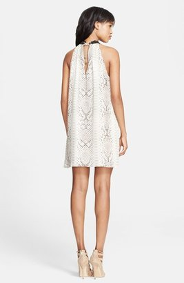 Haute Hippie Embellished Neck Snakeskin Print Silk Shift Dress