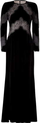 Valentino Black Lace Trim Velvet Gown