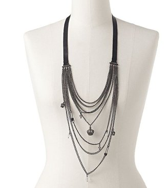 Rock & Republic Rock and republic jet bead long swag necklace