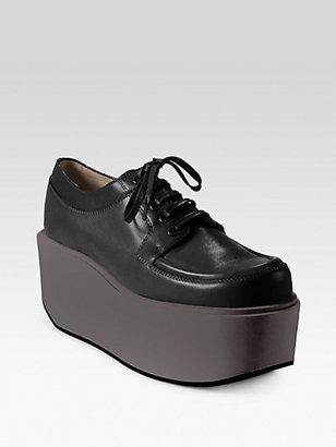 Jil Sander Navy Leather Lace-Up Platform Sneakers