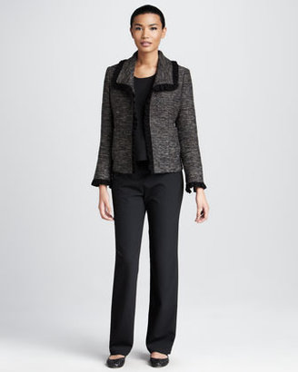 Caroline Rose Ruffle-Trim Tweed Jacket, Women's