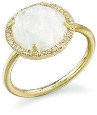 Irene Neuwirth Rose Cut Rainbow Moonstone Ring with Diamonds - Yellow Gold