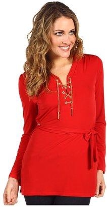 MICHAEL Michael Kors Petite Chain Tie Lace Up Tunic (Red Blaze) - Apparel