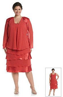 SL Fashions S.L. Fashions Plus Size Chiffon Jewel Shoulder Jacket Dress