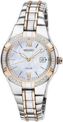 Seiko Womens Two-Tone Diamond-Accent Solar Watch SUT068 $425 thestylecure.com