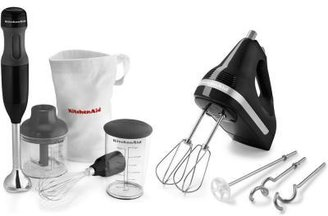 KitchenAid 5-Speed Ultra Power Hand Mixer in Onyx Black and 3-Speed Immersion Blender/Chopper in Onyx Black