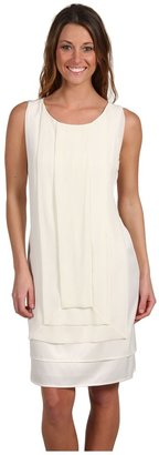 Ellen Tracy Charmuse Chiffon Dress (Cream) - Apparel