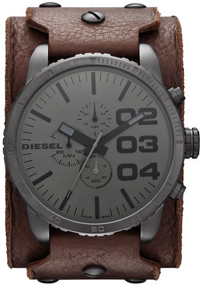 Diesel 'Franchise' Large Leather Cuff Watch, 51mm