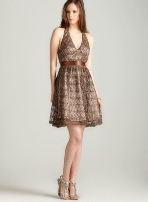 Adrianna Papell lace/sequin Halter Dress