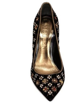 Alexander McQueen Rhombic Embroidered Pointed Pump