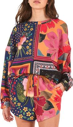 Farm Rio Mix Scarves Multi-Pattern Sweatshirt