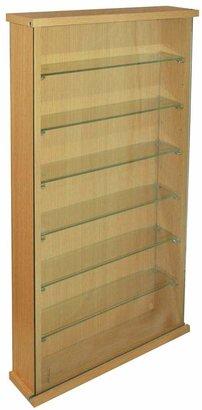 Single Door 6 Glass Shelf Display Cabinet