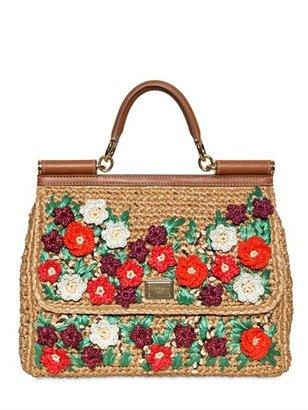 Dolce & Gabbana Miss Sicily Crochet Raffia Top Handle