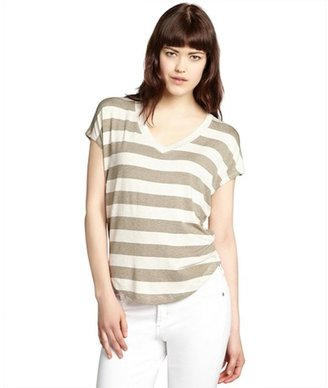 Red Haute taupe and black striped jersey knit v-neck t-shirt