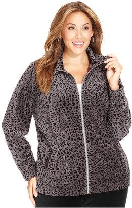 Style&Co. Sport Plus Size Long-Sleeve Velour Leopard-Print Jacket