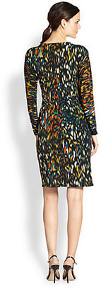 Josie Natori Printed Jersey Surplice Dress