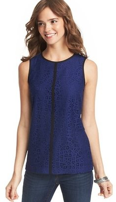 LOFT Petite Lace and Grosgrain Front Shell