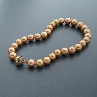Gump's Golden South Sea Cultured Pearl Necklace with Pierced Foliate Ojime Clasp