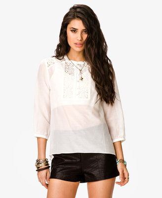 Forever 21 Embroidered Semi-Sheer Top