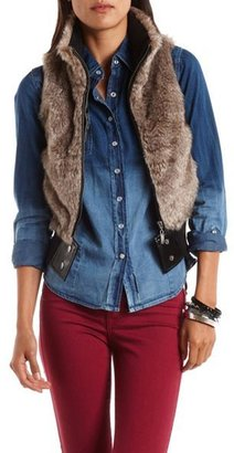 Charlotte Russe Ribbed Faux-Fur Vest