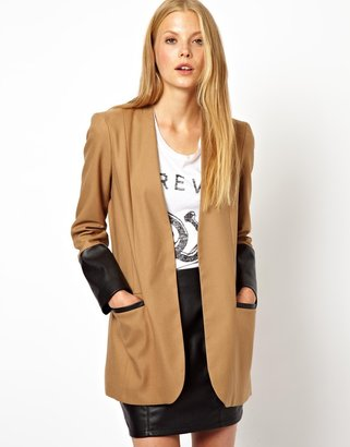 Asos Jacket with PU Sleeve Detail - Beige