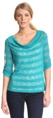Amy Byer Women's Scoop Neck Novelty Top with Three Quarter Sleeve