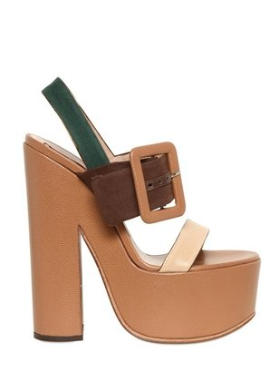 Rochas 150mm Canvas & Leather Buckle Sandals