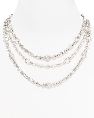 Majorica Three Row Man-Made Pearl Necklace, 18""