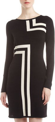 Neiman Marcus Geometric-Print Sweater Dress, Black/Buttercream