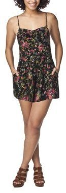 Xhilaration Juniors Bow Bodice Strappy Romper - Black Floral Clusters