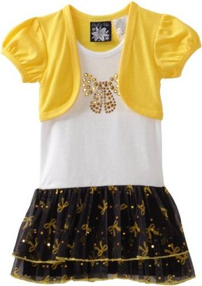 So La Vita Girls 2-6X Toddler Big Bow Dress With Hot Fixed Stones