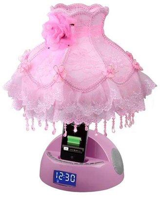 FM LighTunes 16.5 in. Pink Apple Docking Speaker Lamp with Alarm Clock, Radio, USB Charging Port and Beaded Dress Shade