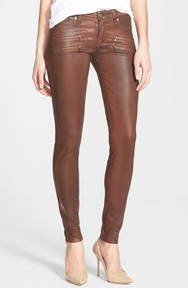 Paige 'Edgemont' Zip Detail Coated Ultra Skinny Jeans (Saddle)