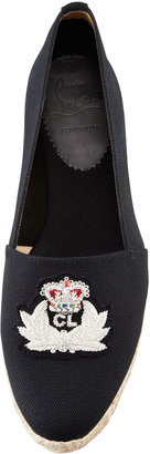 Christian Louboutin Gala Embroidered Crest Espadrille Loafer, Black