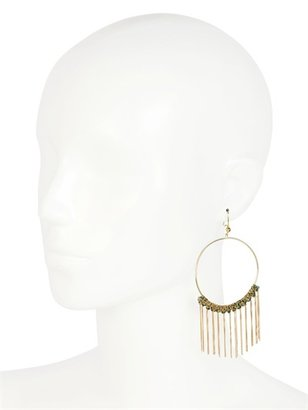 Carolina Bucci Large Woven Fringed Hoop Earrings