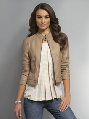 New York & Co. Faux Leather Cropped Jacket with Banded Collar