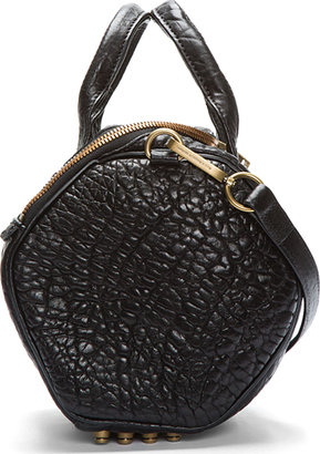 Alexander Wang Black Pebbled Leather Studded Rockie Duffle Bag