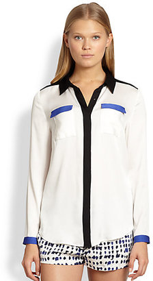 Milly Miranda Stretch-Silk Colorblock Shirt