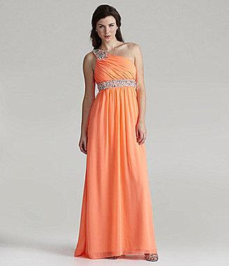 Jodi Kristopher One-Shoulder Beaded Dress